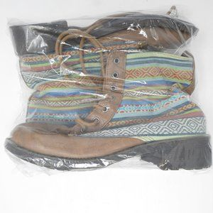 Shoes - NWOT Womens Size 6 Laced Boots with Aztec Design